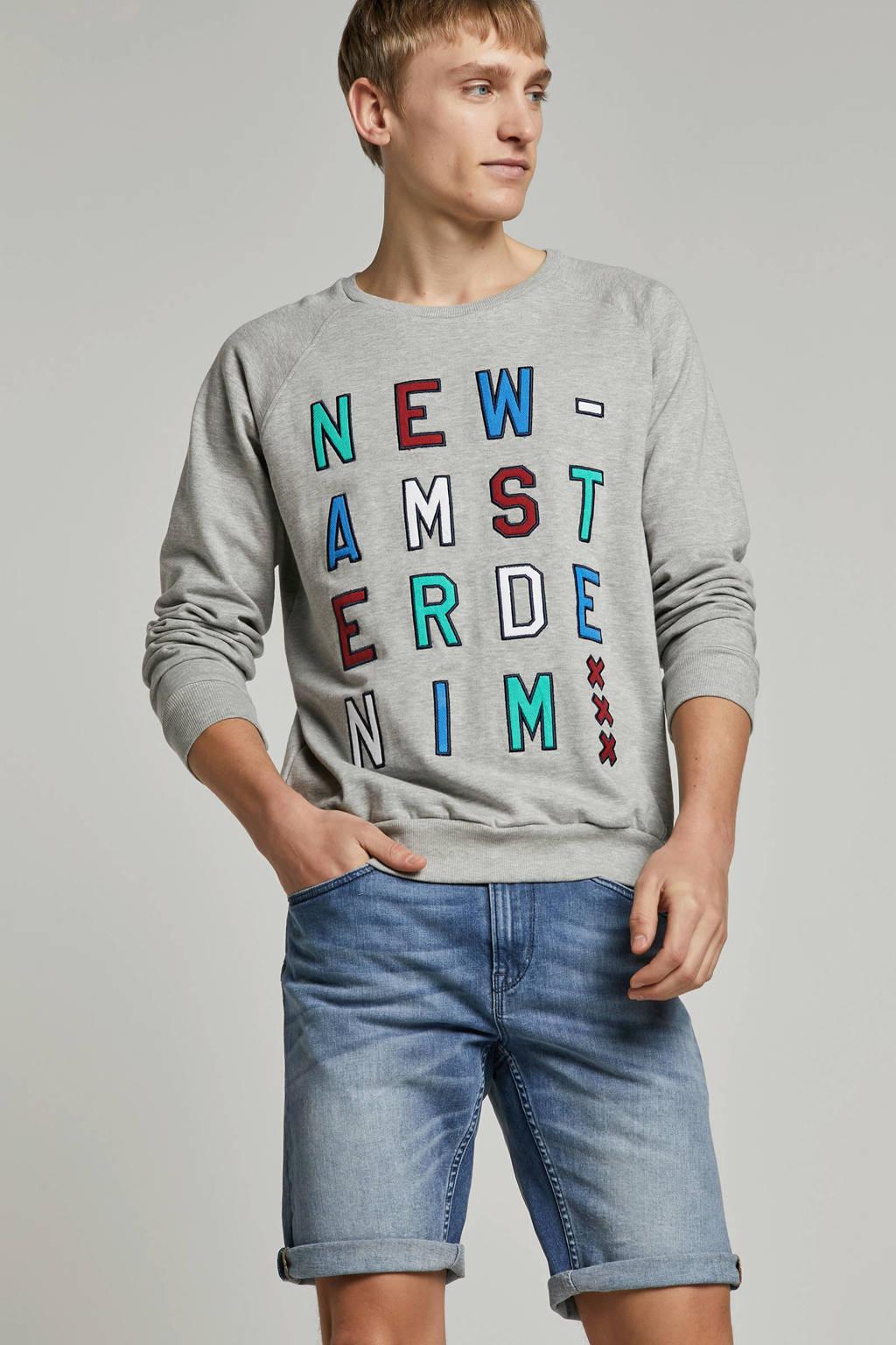Amsterdenim sweater Adelbert grijs, Grey Melange/ multi-kleuren