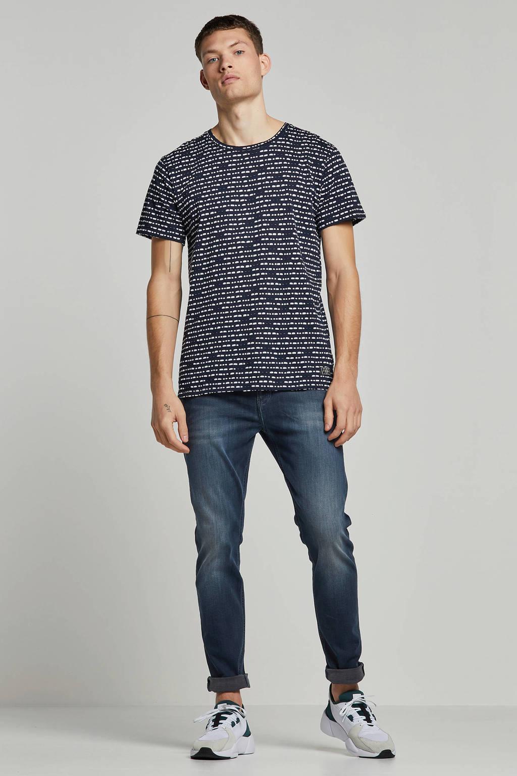 Amsterdenim T-shirt Roland, marine/ wit