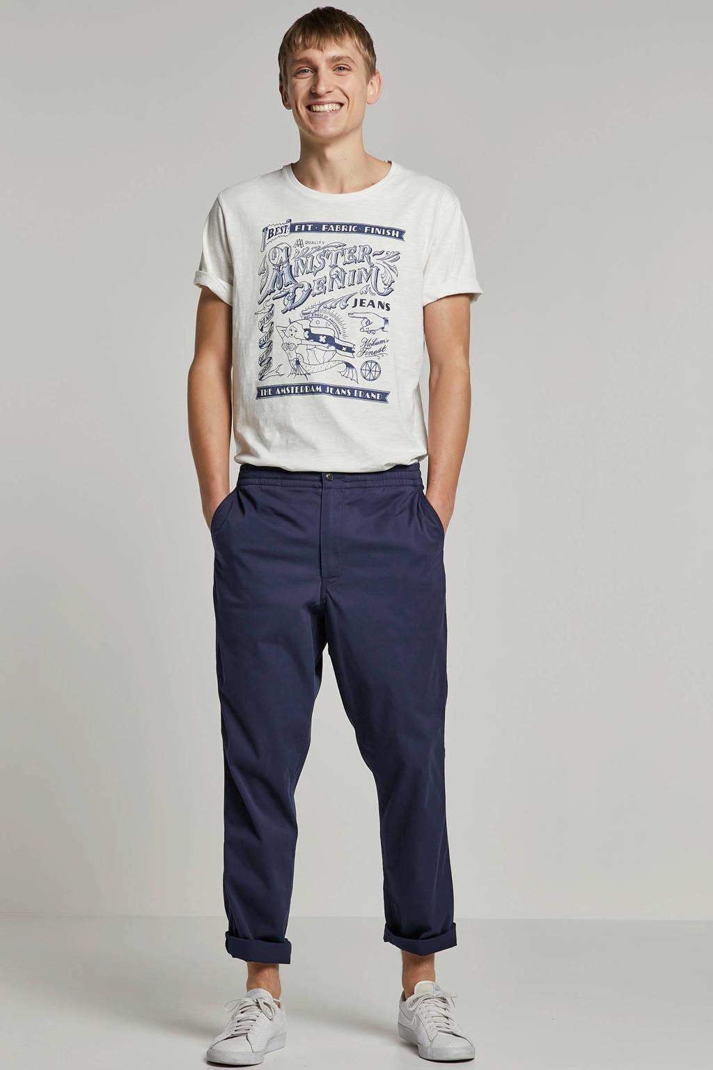 Amsterdenim T-shirt Krabman ecru, Ecru/ blauw