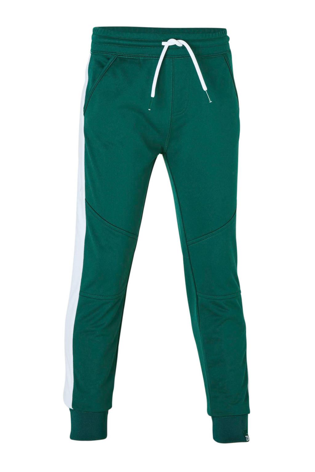 Z8   joggingbroek Martijn met zijstreep groen, Groen/wit
