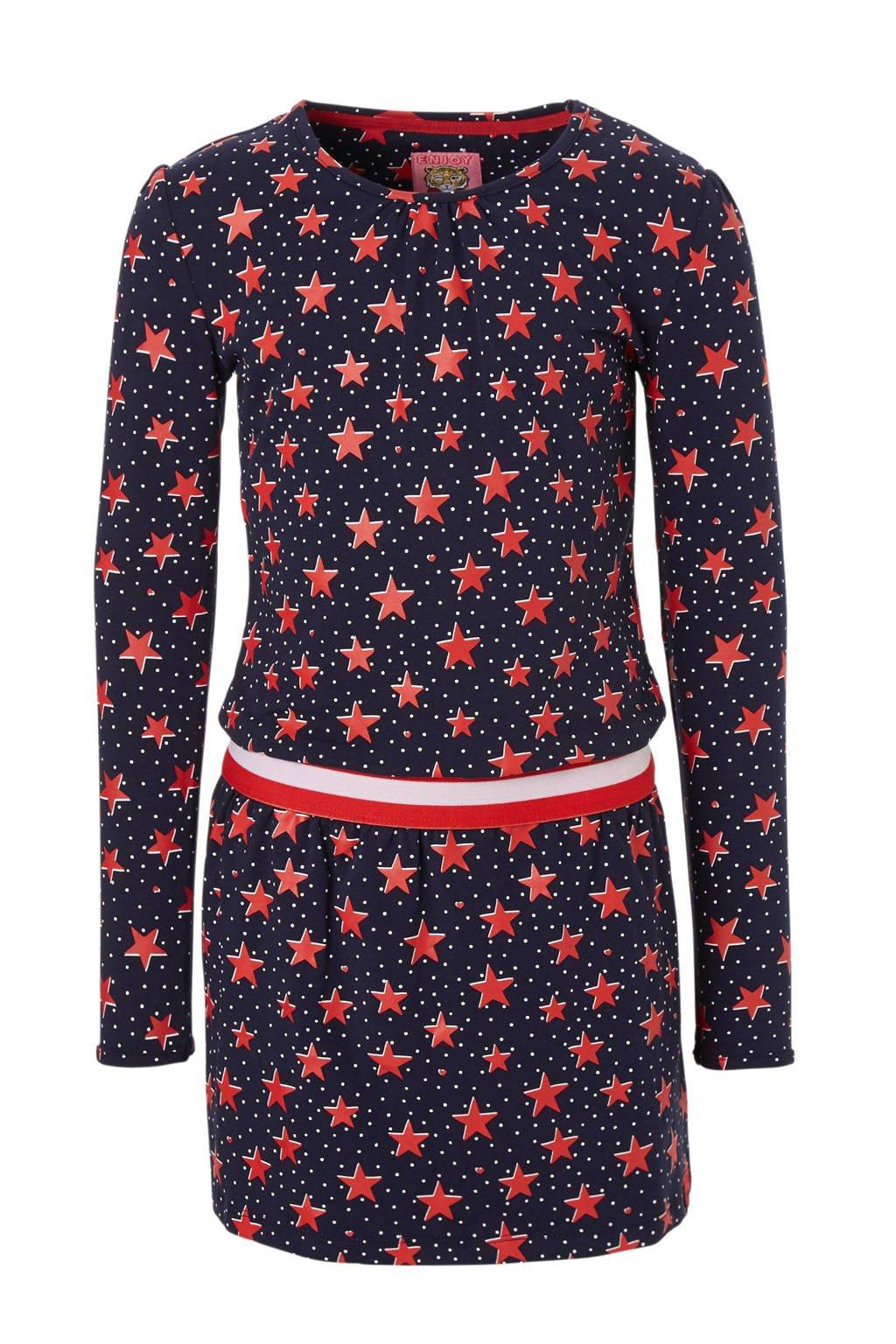 Z8 jurk Fleur met sterren en stippen blauw, Blauw/rood/wit
