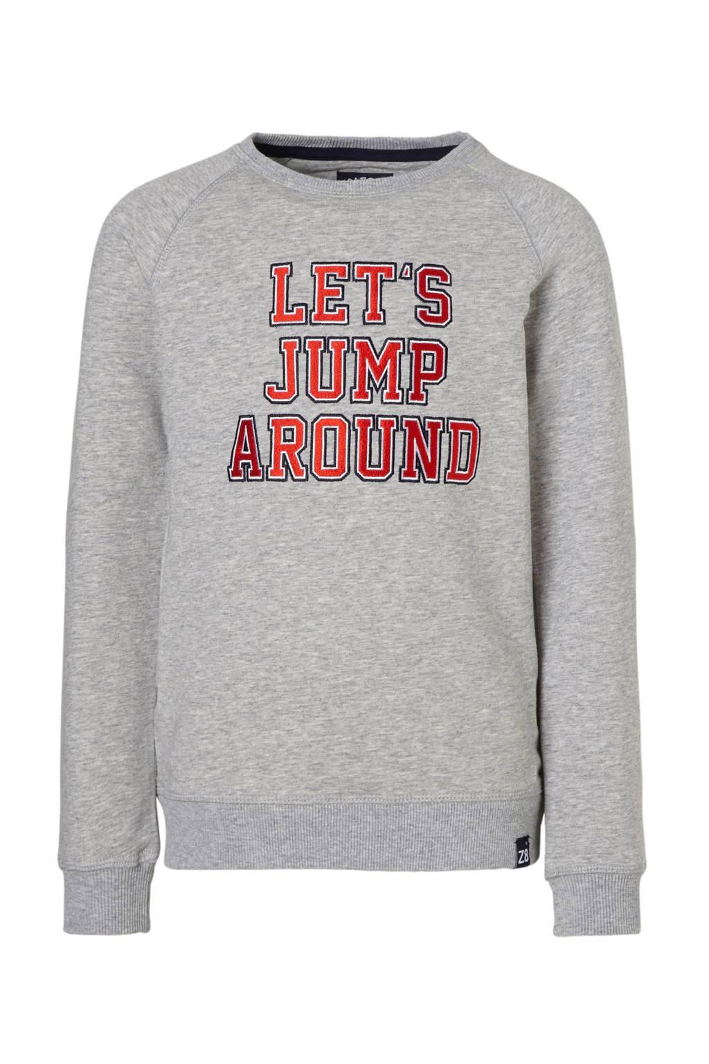 Z8 sweater Tim met tekst grijs, Grijs melange