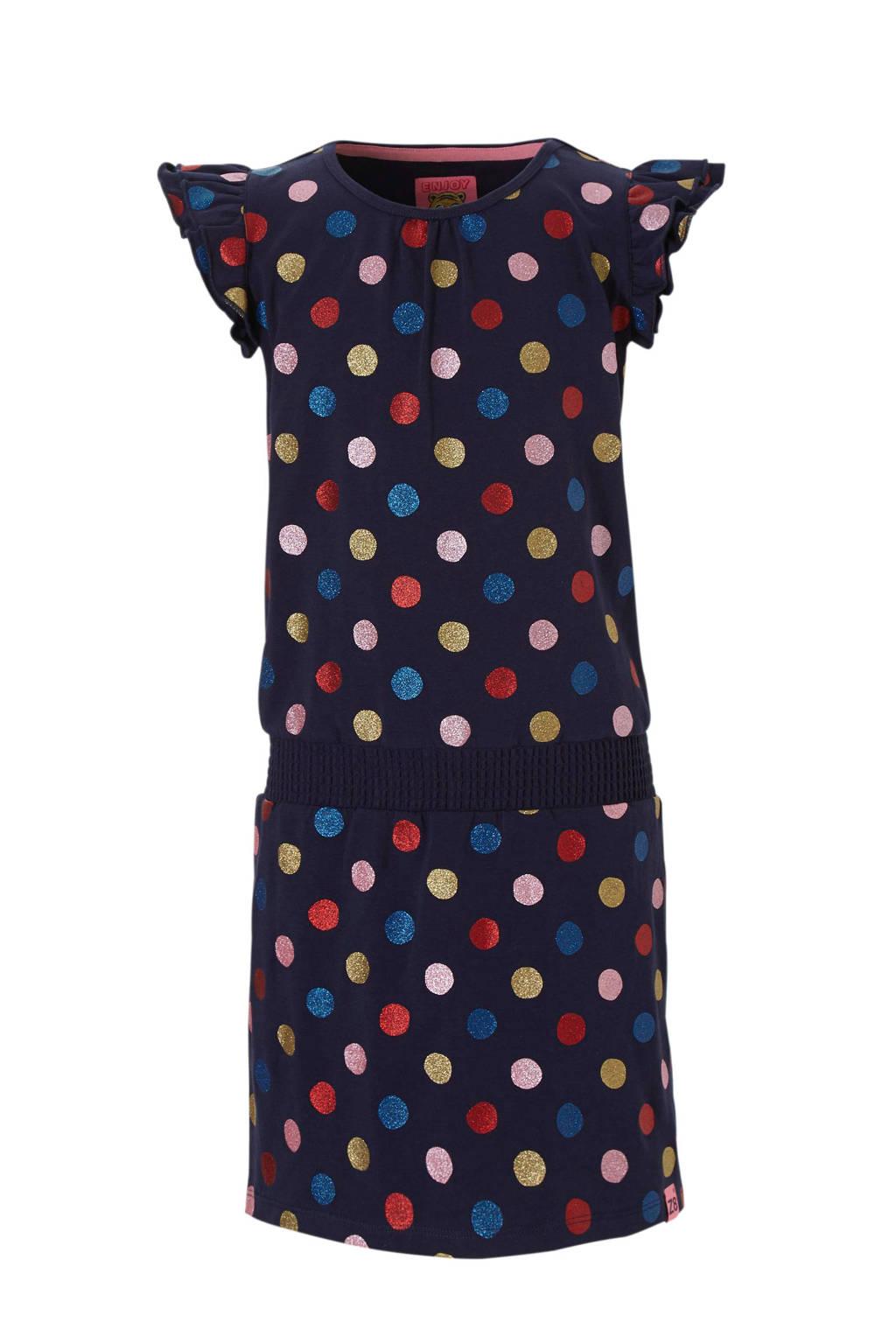 Z8 jurk Janine met stippen blauw, Donkerblauw