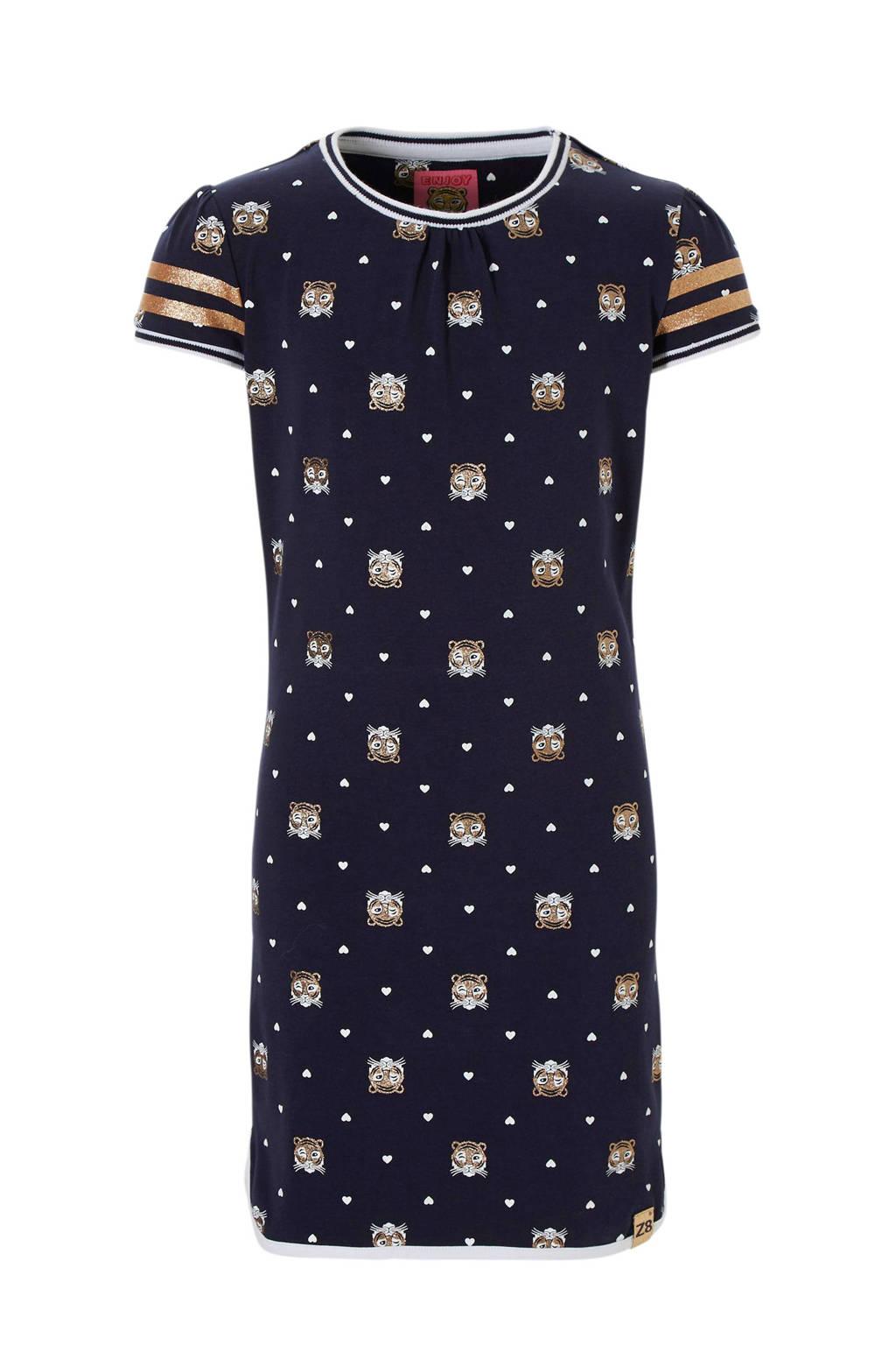 Z8 jurk Sophie met tijgers en hartjes blauw, Blauw/goud