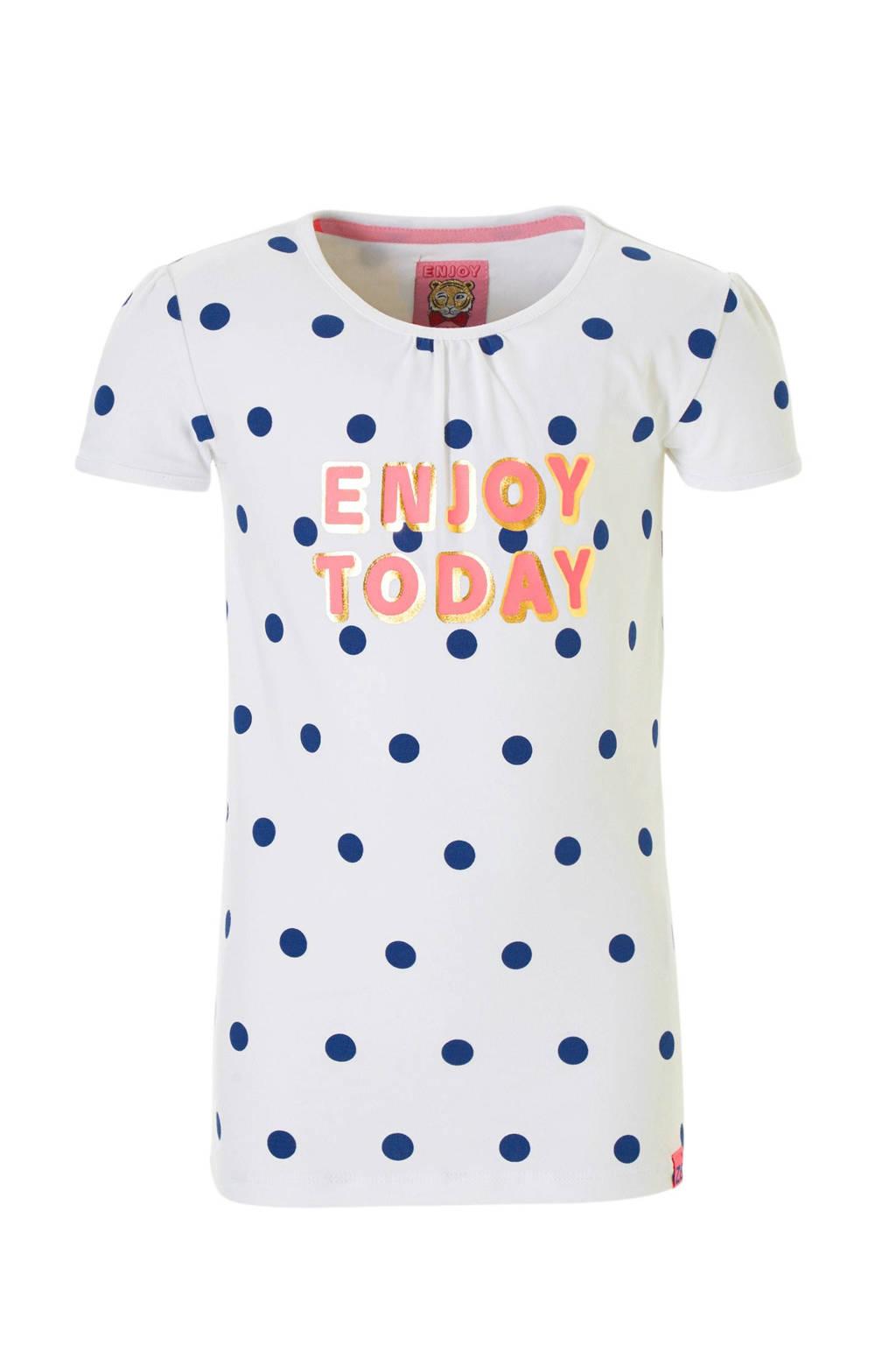 Z8 T-shirt Zoe met stippen en tekst wit, Wit/blauw