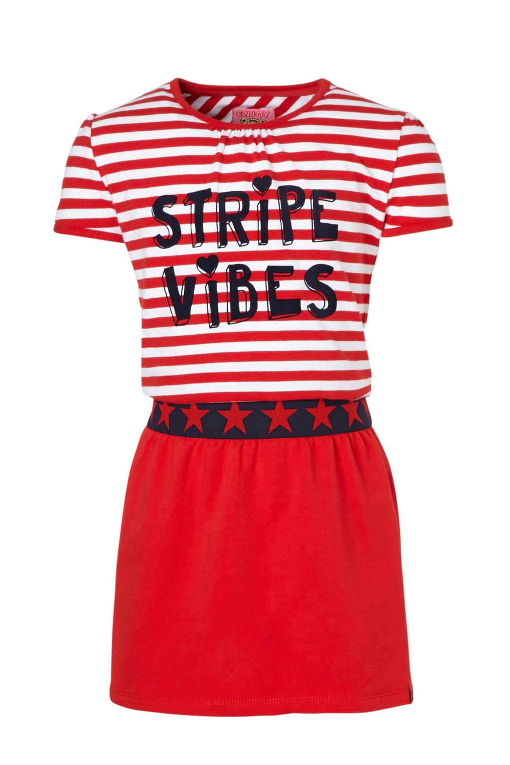 Z8 gestreepte jurk Yara met tekst rood, Rood/wit