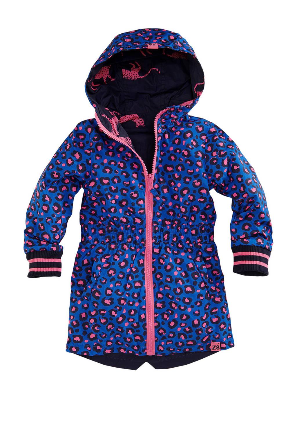 Z8 omkeerbare zomerjas Vera met panters en panterprint blauw, Donkerblauw/roze