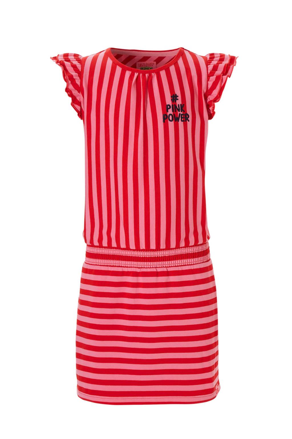 Z8 gestreepte jurk Julia rood/roze, Roze/rood