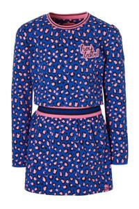 Z8 jurk Eva met panterprint blauw, Blauw/roze