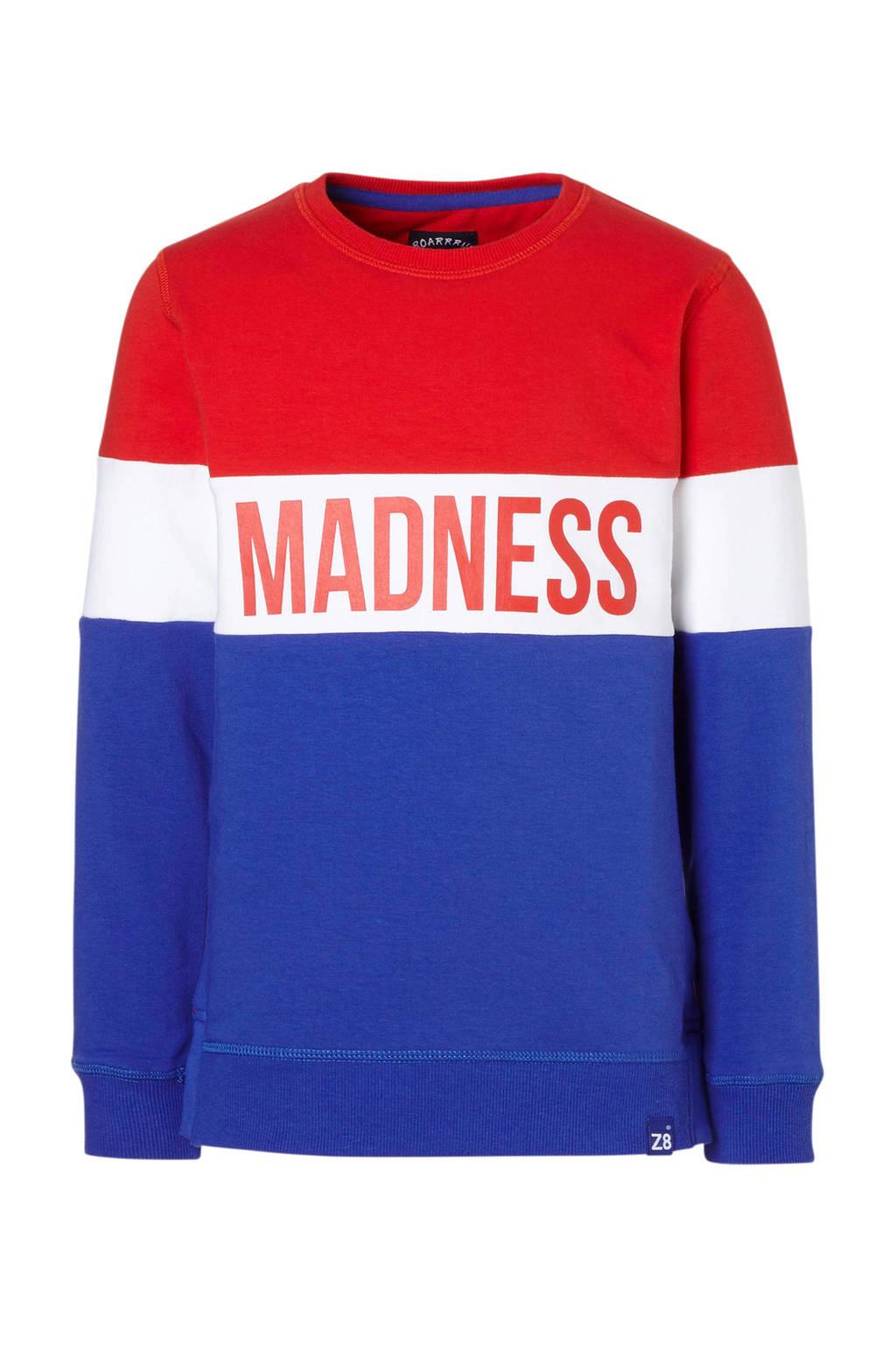 Z8 sweater Jelle met tekst, Rood/wit/blauw
