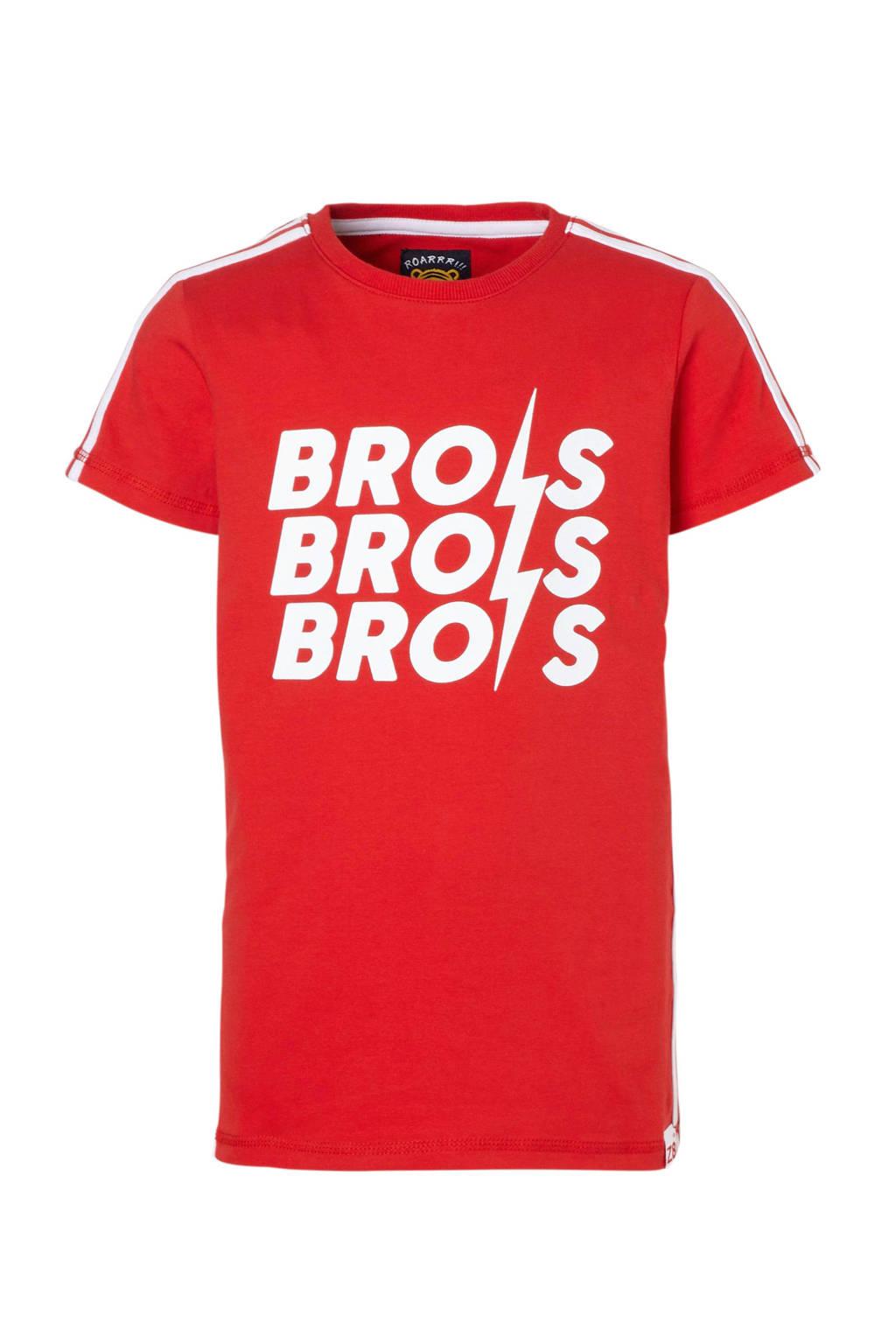 Z8 T-shirt Luuk met tekst rood, Rood/wit