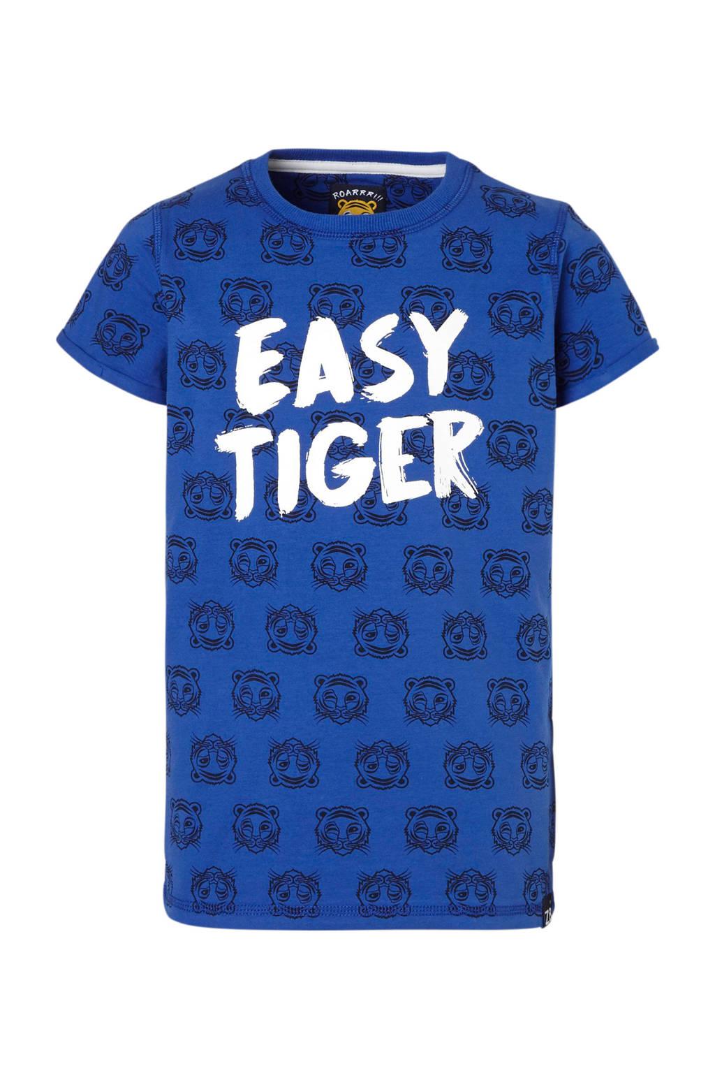 Z8 T-shirt Lucas met tijgers en tekst blauw, Blauw/donkerblauw