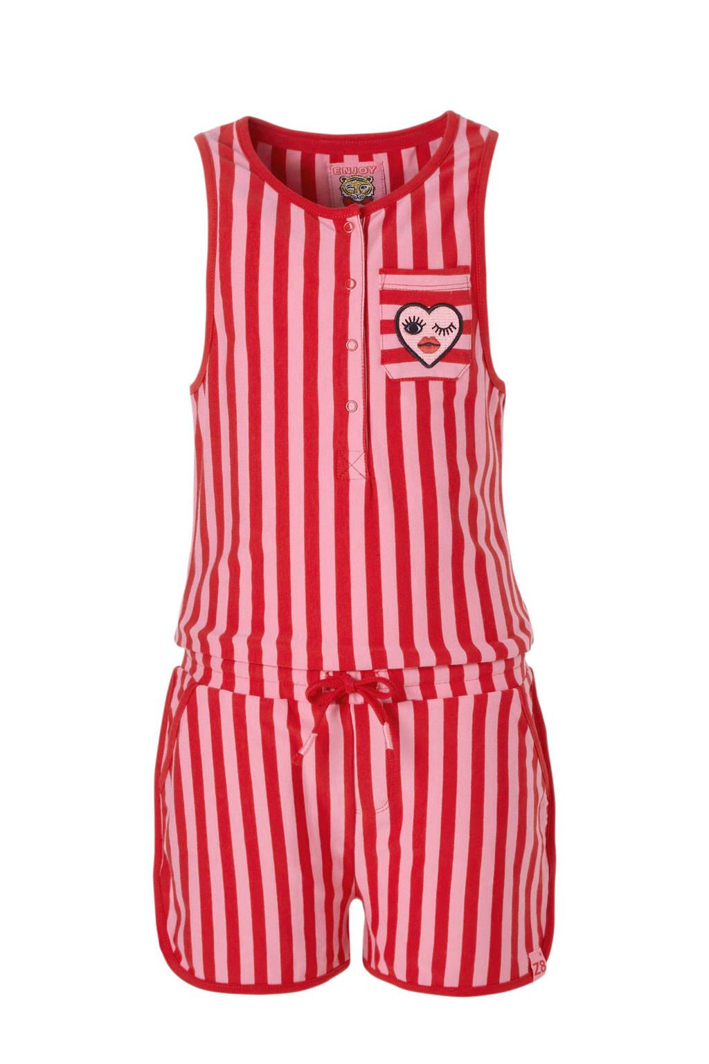 Z8 gestreepte jumpsuit Emily met hartje rood, Rood/roze