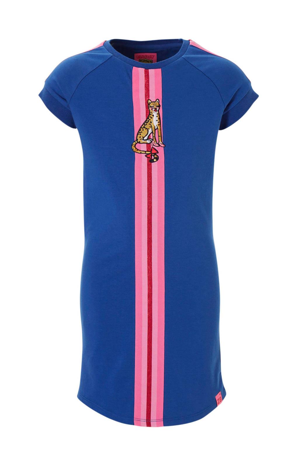 Z8 jurk Abigail met streep en panter blauw, Blauw/roze