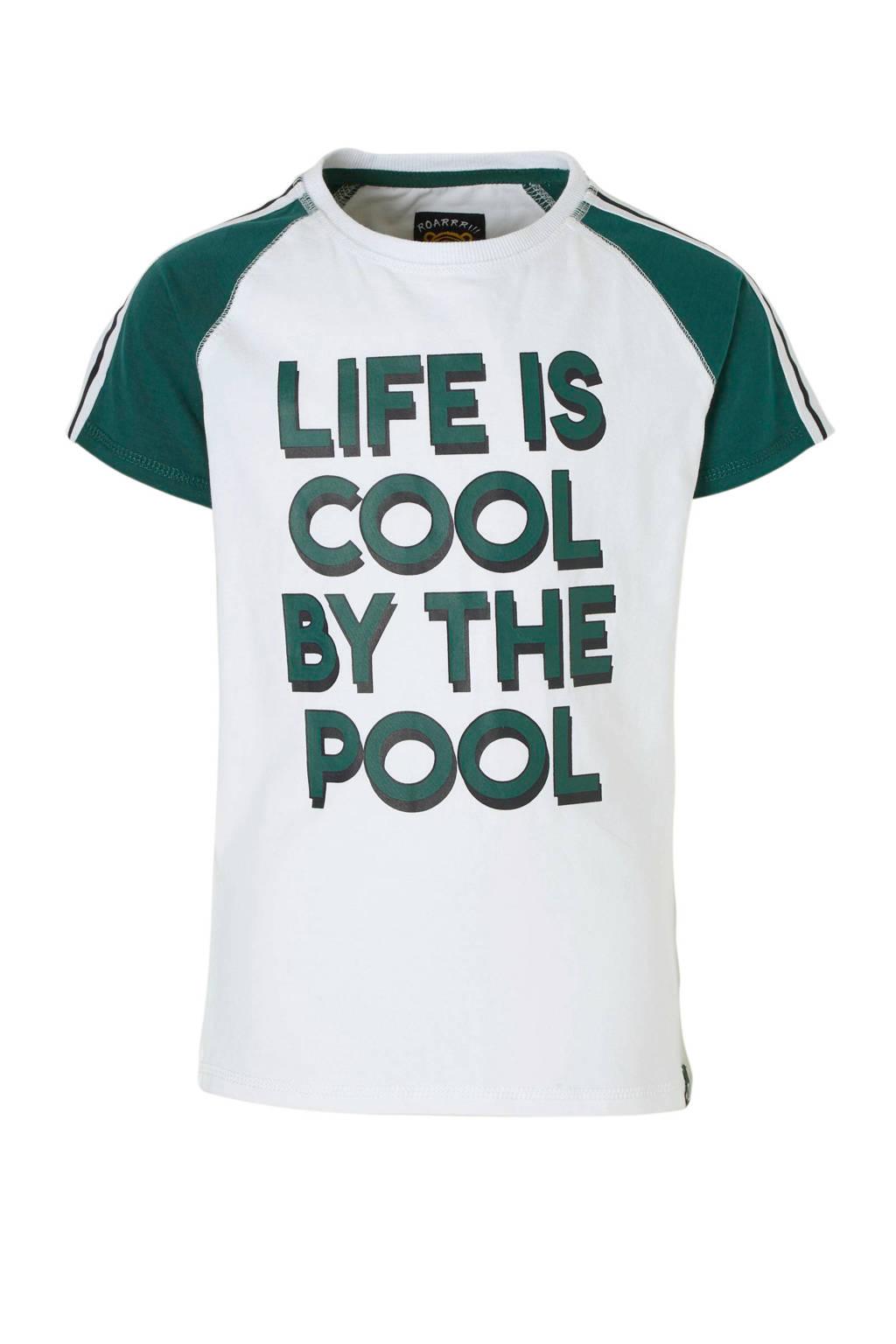 Z8 T-shirt Dex met tekst wit, Wit/groen