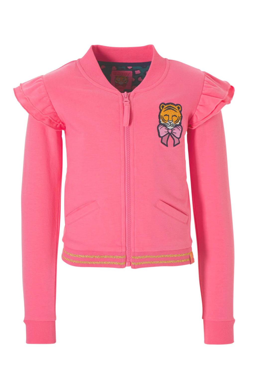 Z8 sweatvest Fabienne met ruches en tijger roze, Roze