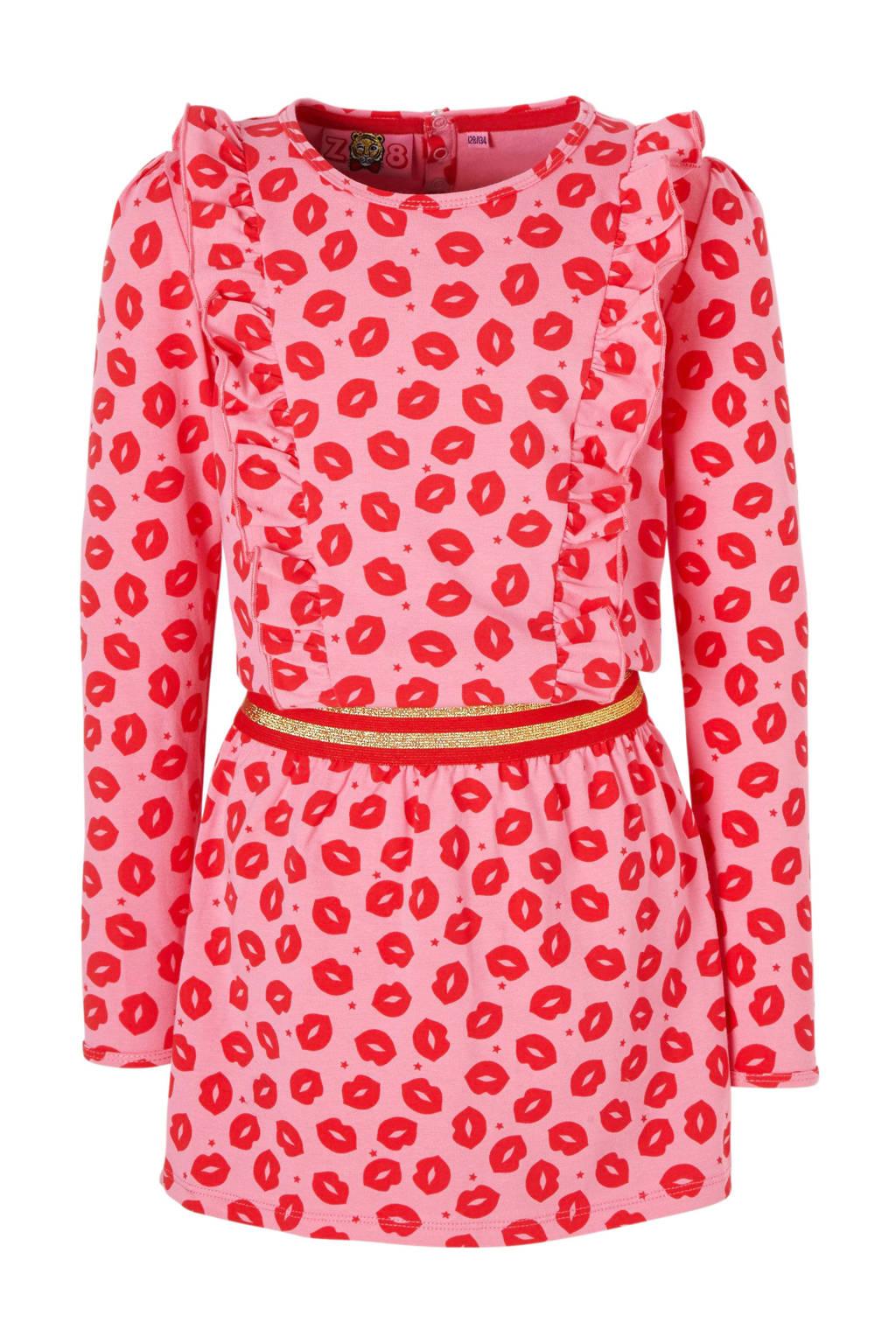 Z8 jurk Marijke met kusjes roze, Roze