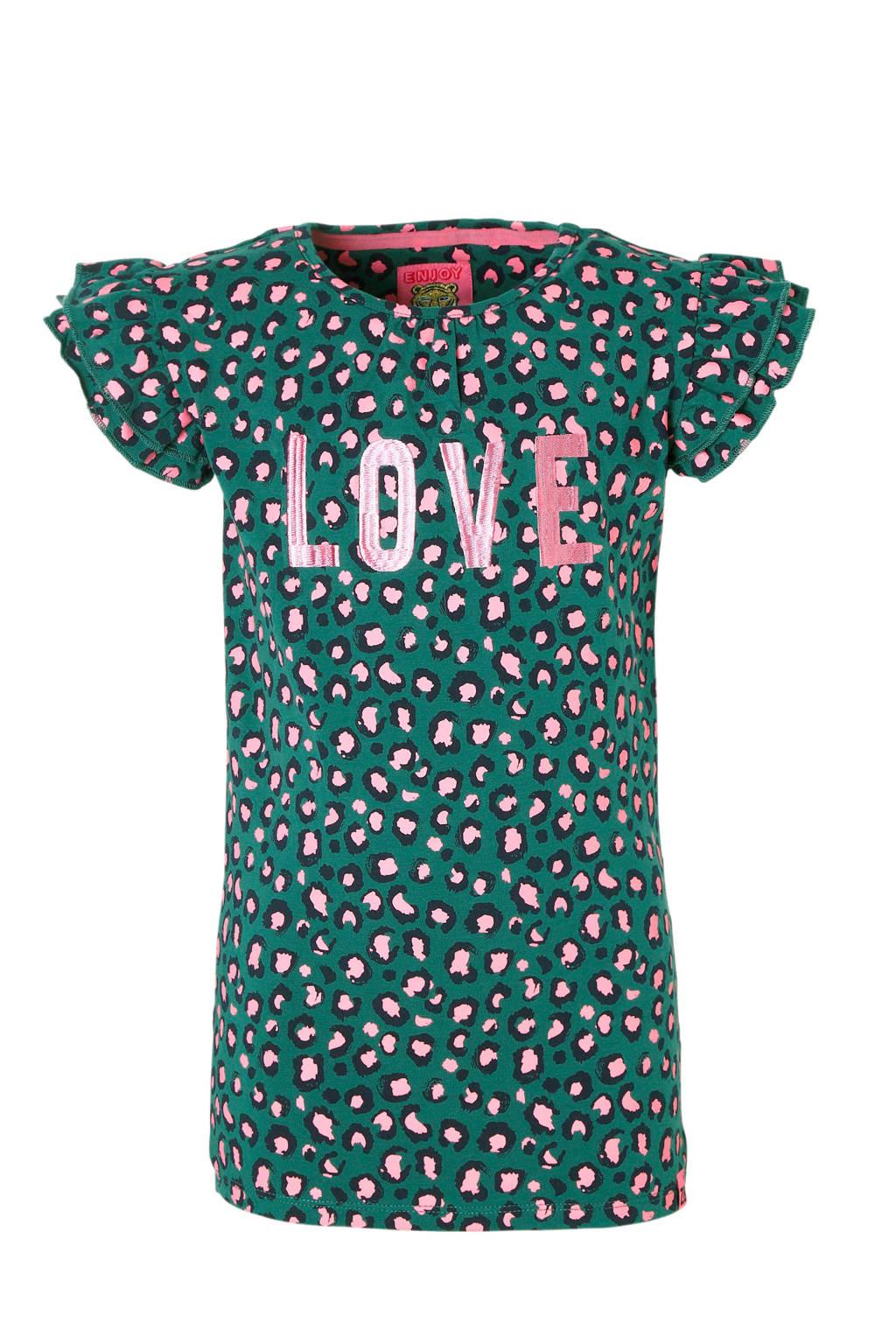Z8 T-shirt Sanne met panterprint en tekst groen, Groen