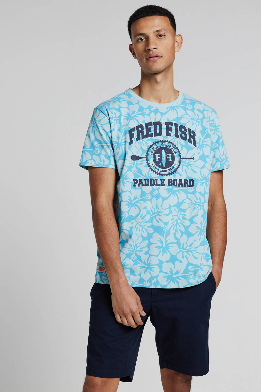 A fish named Fred T-shirt met all over print blauw, Blauw