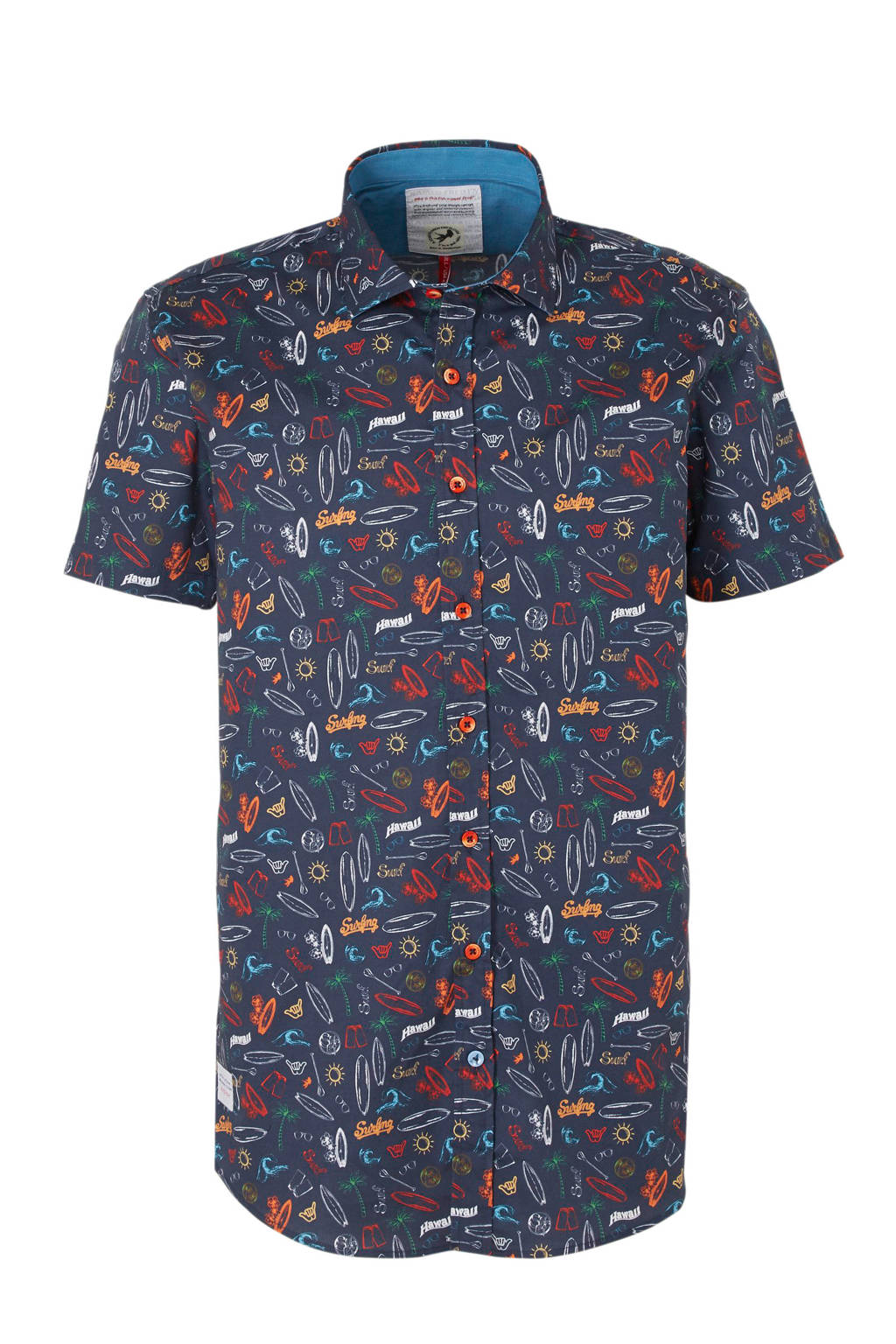 A fish named Fred regular fit overhemd met all over print donkerblauw, Donkerblauw/rood