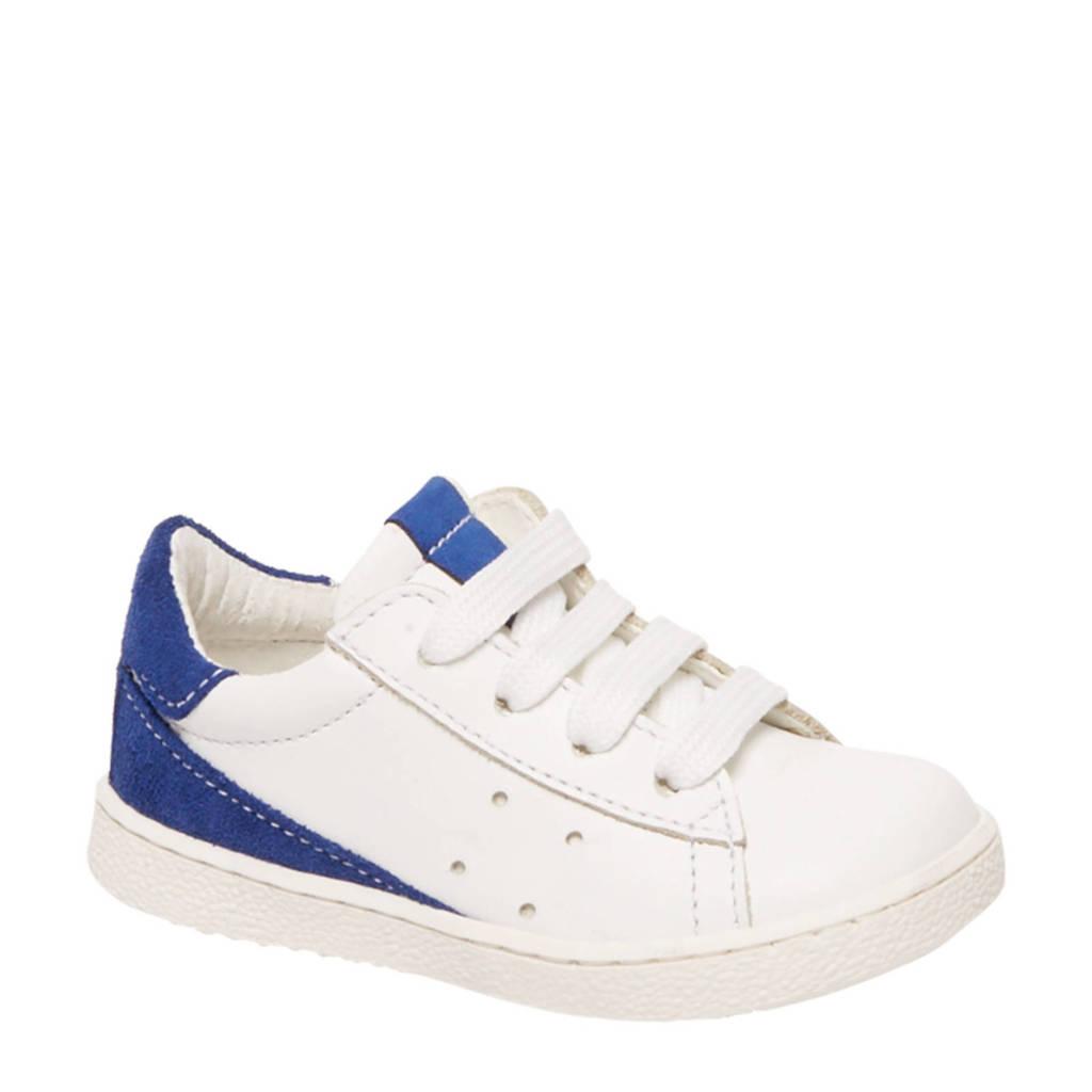 vanHaren Bobbi-Shoes  leren sneakers wit/blauw, Wit/blauw