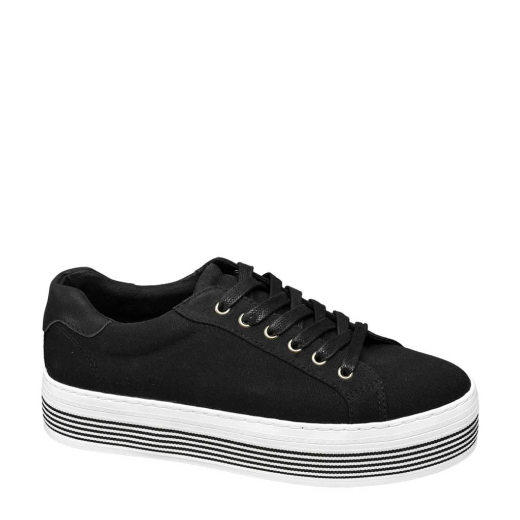 vanHaren Graceland  plateau sneakers zwart, Zwart