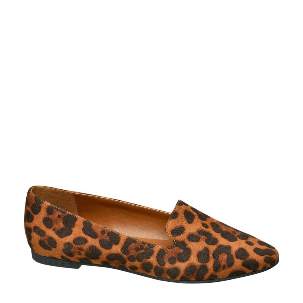 vanHaren Graceland loafers met panterprint, Bruin/zwart