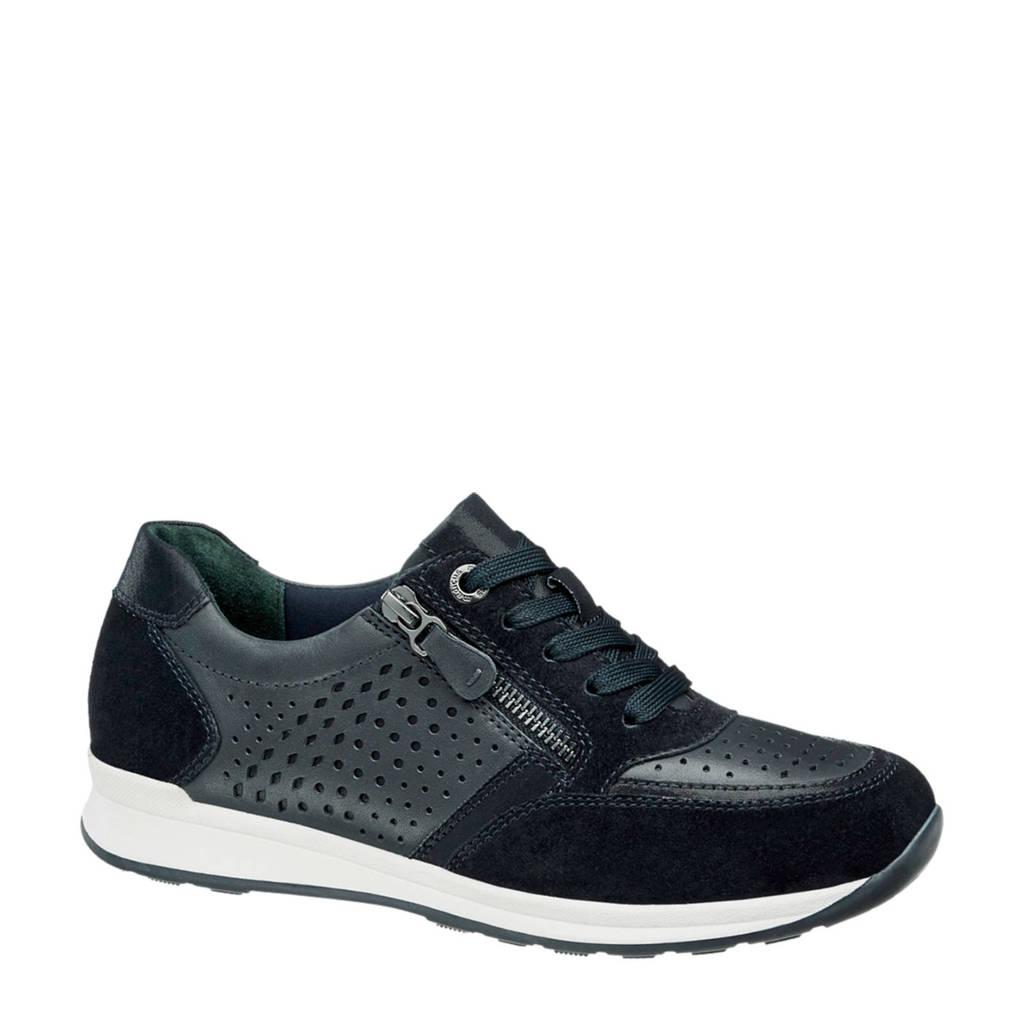 vanHaren Medicus suède sneakers zwart, Blauw