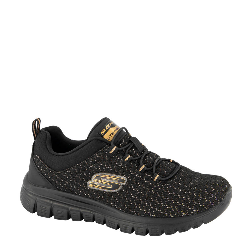 Skechers  sneakers zwart, Zwart/goud