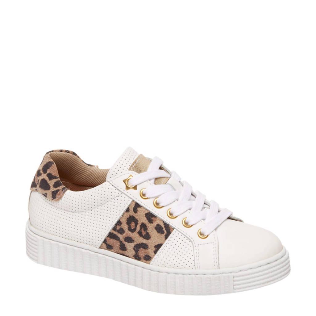 vanHaren Graceland  leren sneakers wit met panterprint, Wit