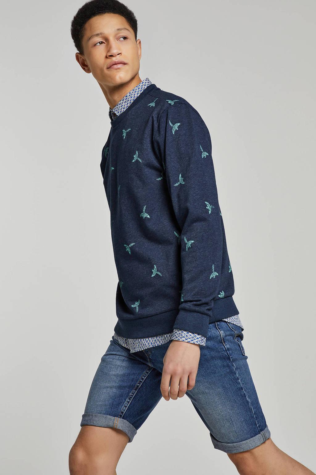 Only & Sons sweater met printopdruk, Blauw