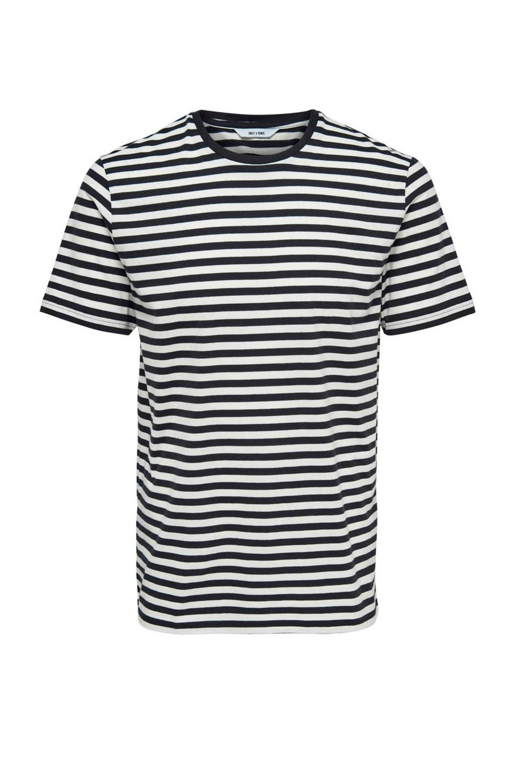 Only & Sons T-shirt met strepen marine, Marine/wit