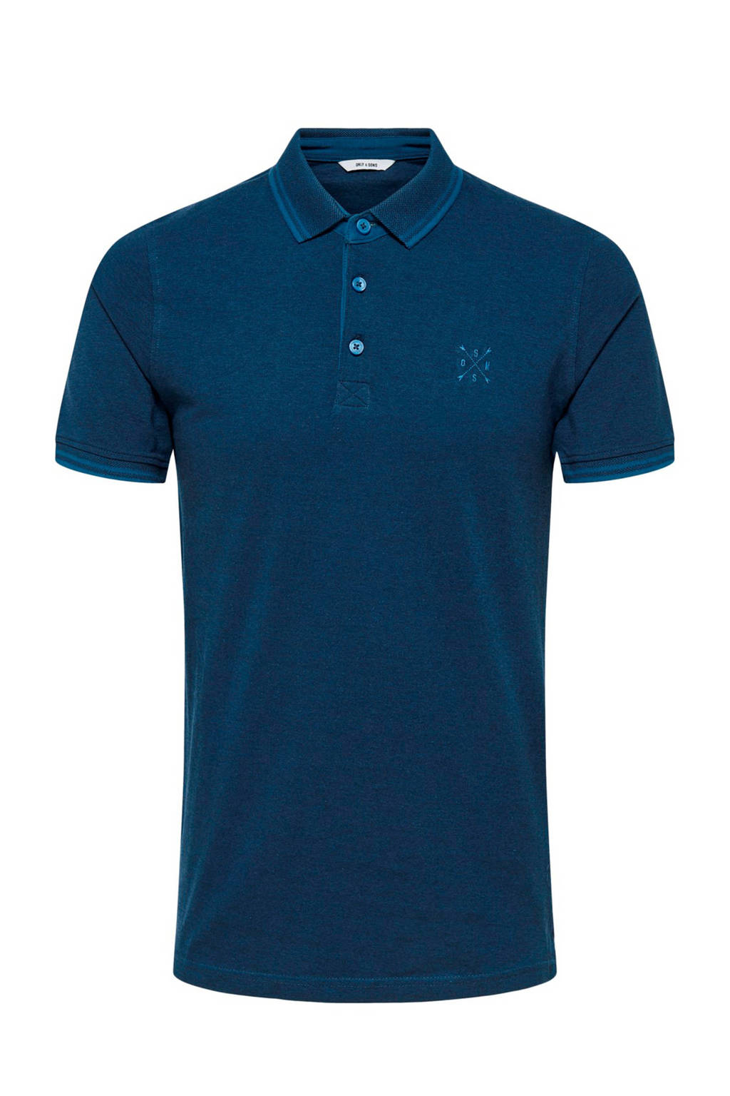 Only & Sons slim fit polo donkerblauw, Donkerblauw