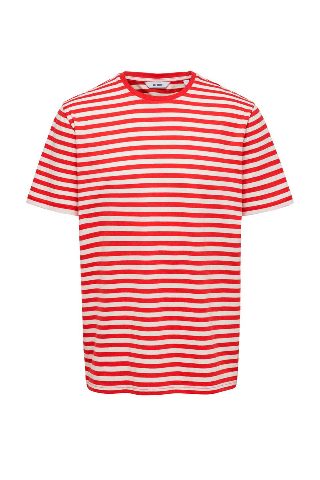 Only & Sons T-shirt met strepen, Rood/wit