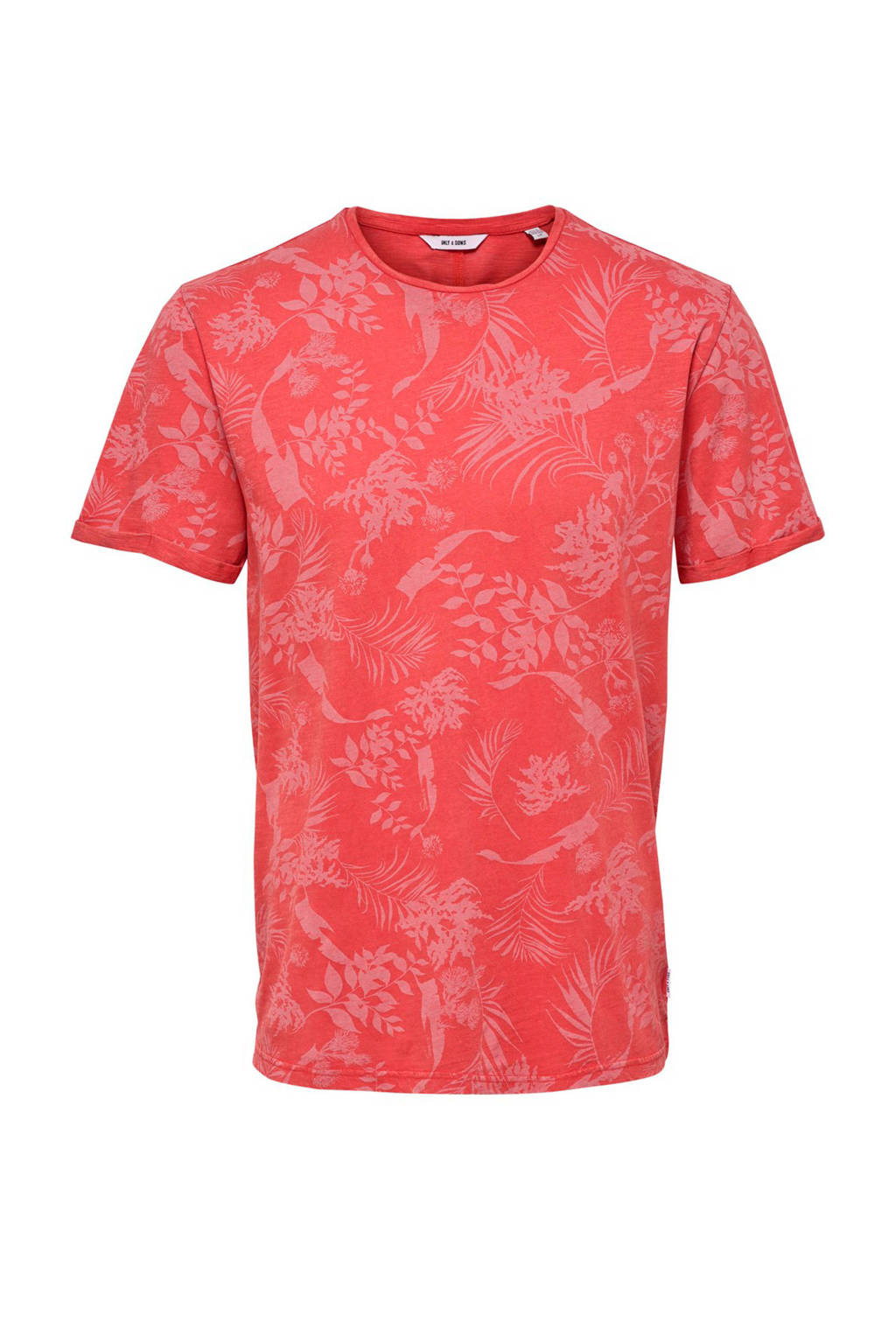 Only & Sons T-shirt met all over print, Rood