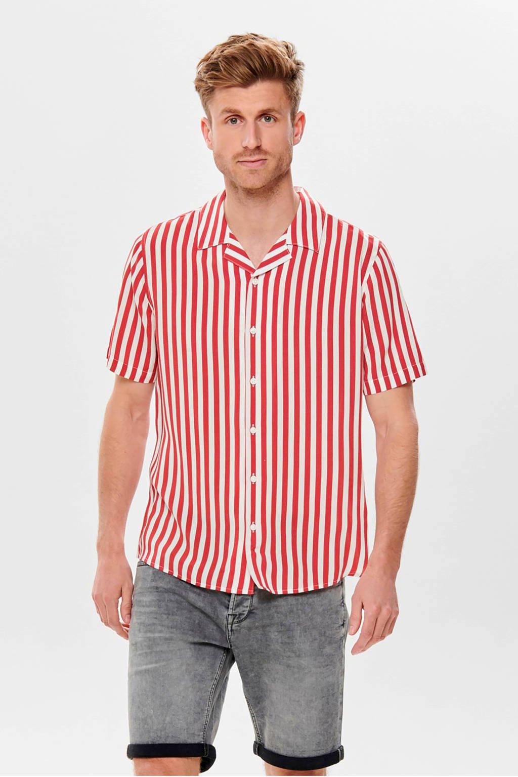 ONLY & SONS gestreept regular fit overhemd rood, Rood/wit