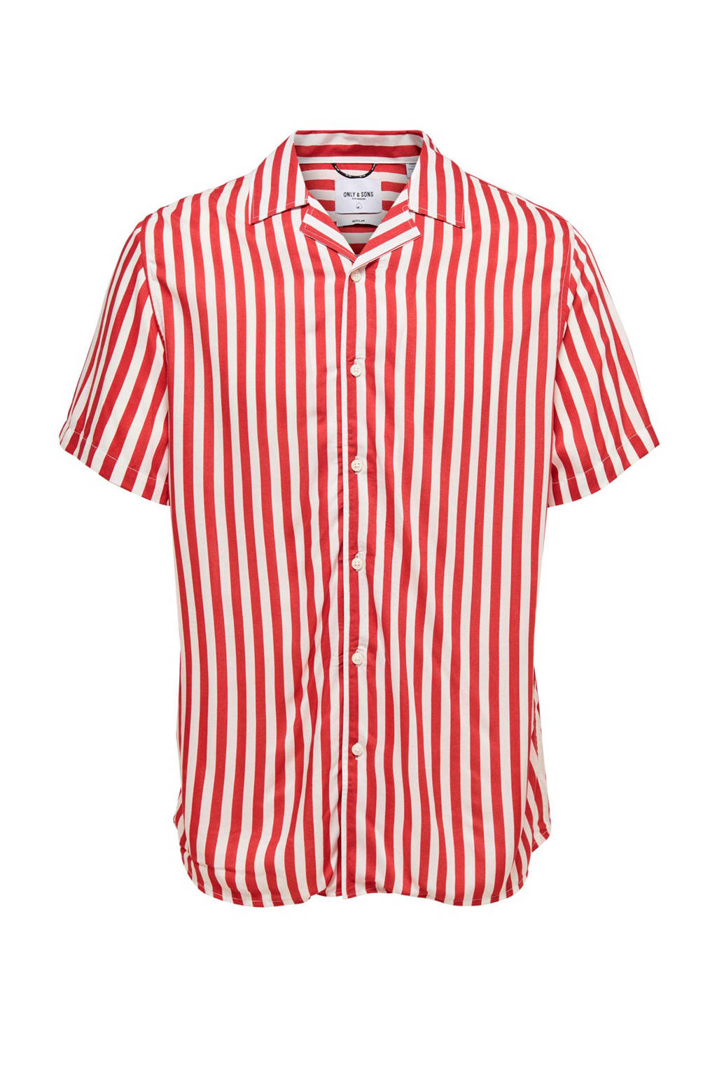 Only & Sons regular fit overhemd rood/wit, Rood/wit
