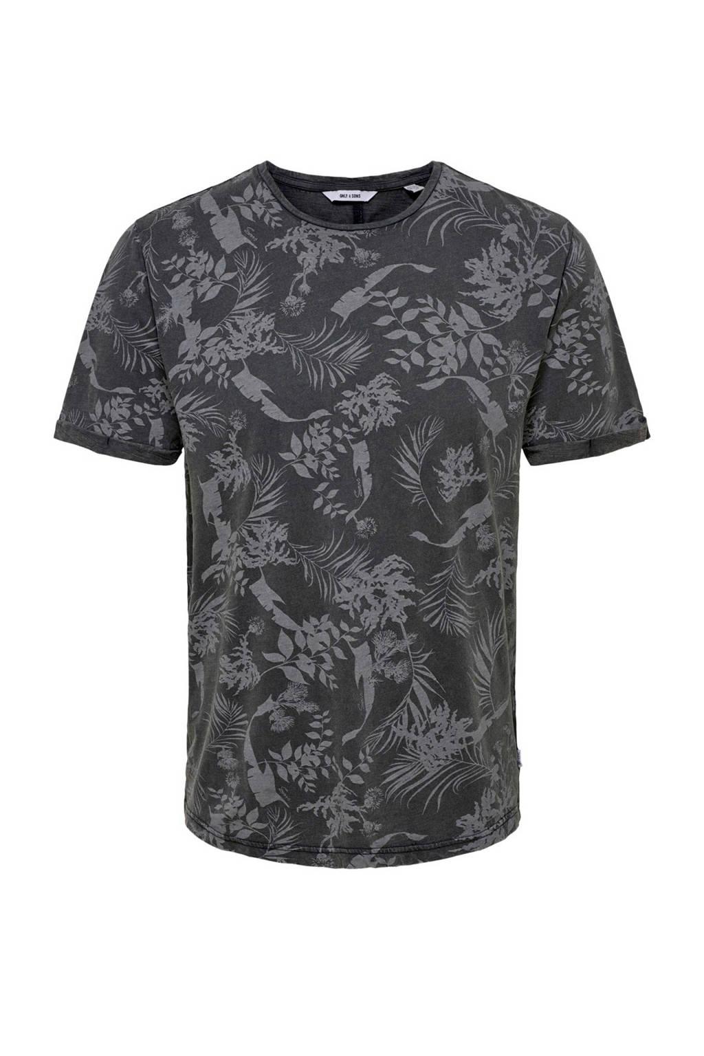 Only & Sons T-shirt met all over print, Zwart