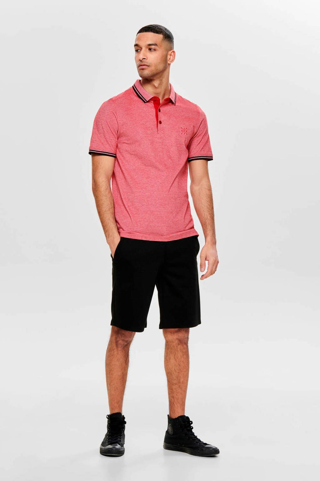 ONLY & SONS gemêleerde regular fit polo rood, Rood