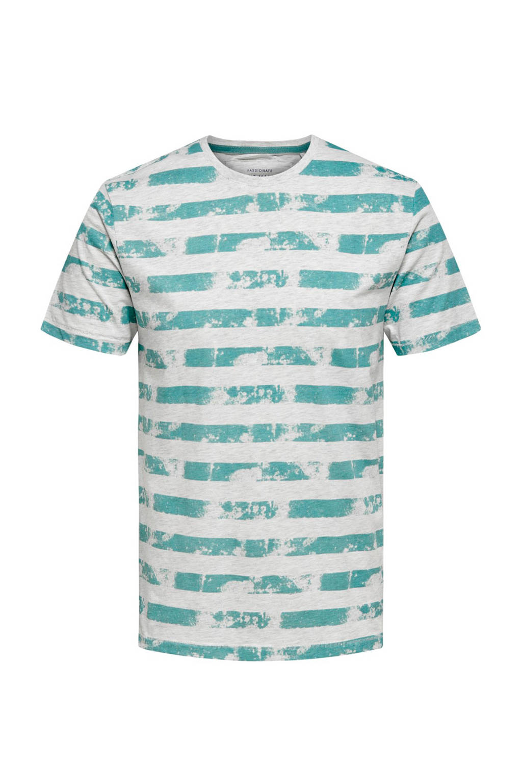 Only & Sons slim fit T-shirt met strepen, Lichtblauw