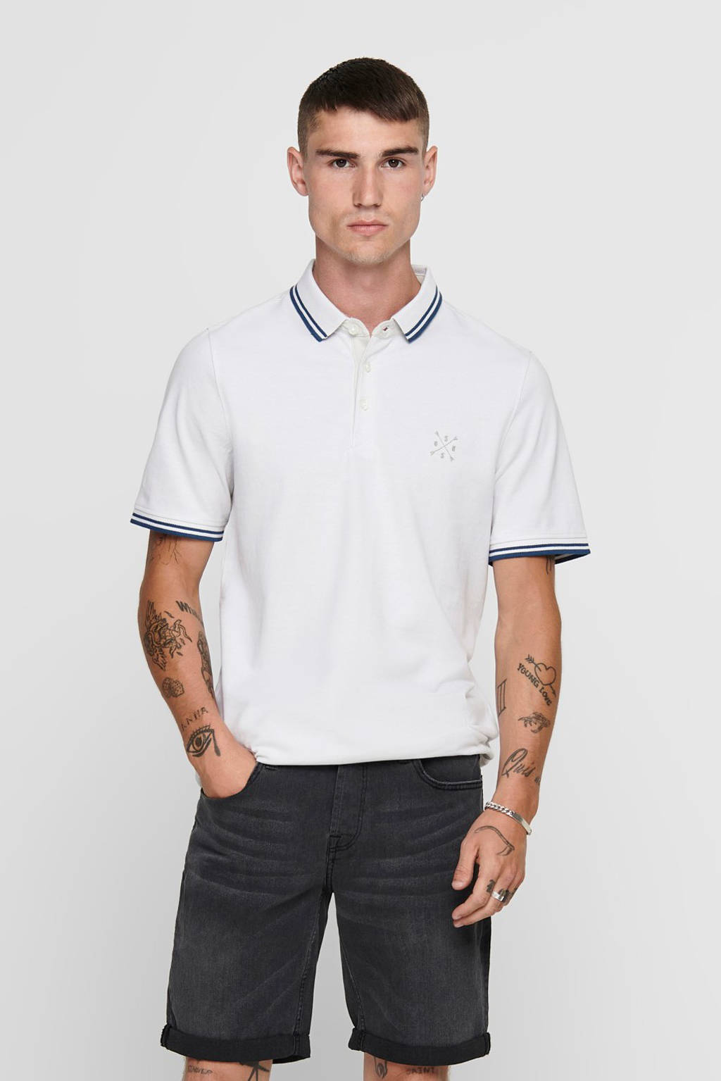 ONLY & SONS slim fit polo wit, Wit/donkerblauw