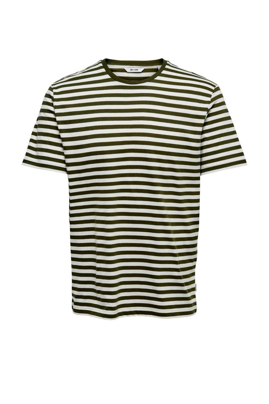 Only & Sons T-shirt met strepen olijfgroen, Olijfgroen/wit
