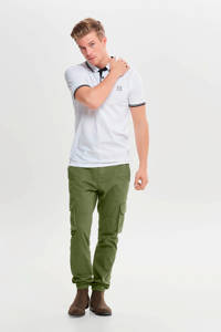 ONLY & SONS slim fit polo wit, Wit/zwart