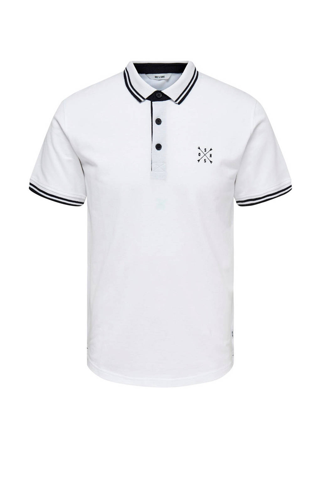 Only & Sons slim fit polo wit, Wit