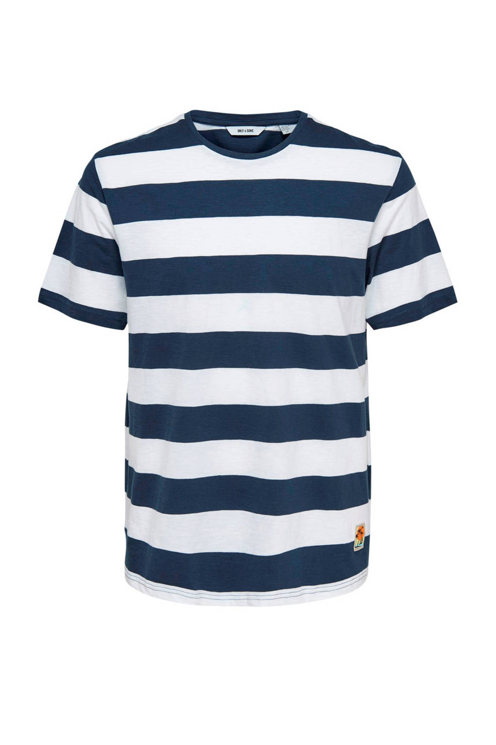 Only & Sons T-shirt met strepen, Donkerblauw/wit