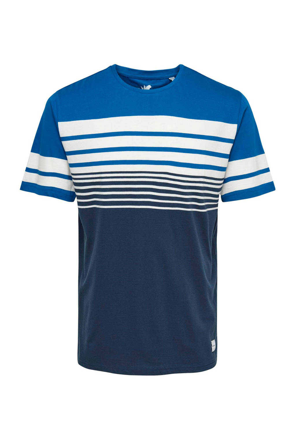 Only & Sons T-shirt met strepen blauw, Blauw