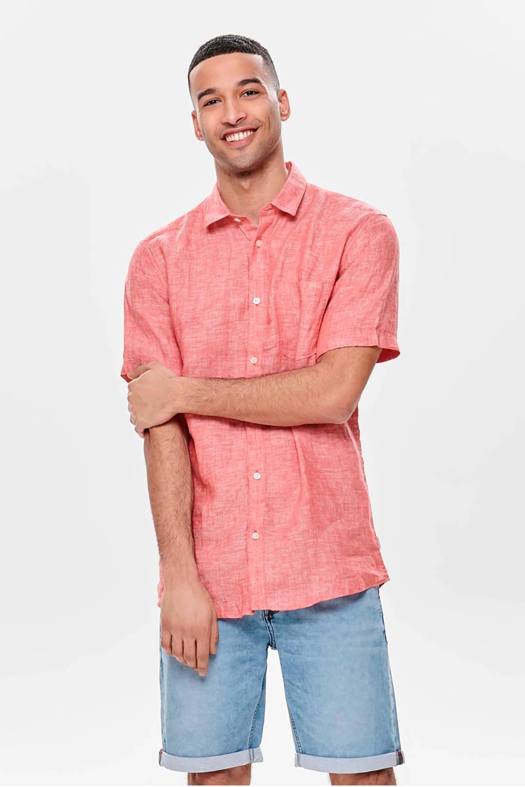 ONLY & SONS linnen overhemd, Rood