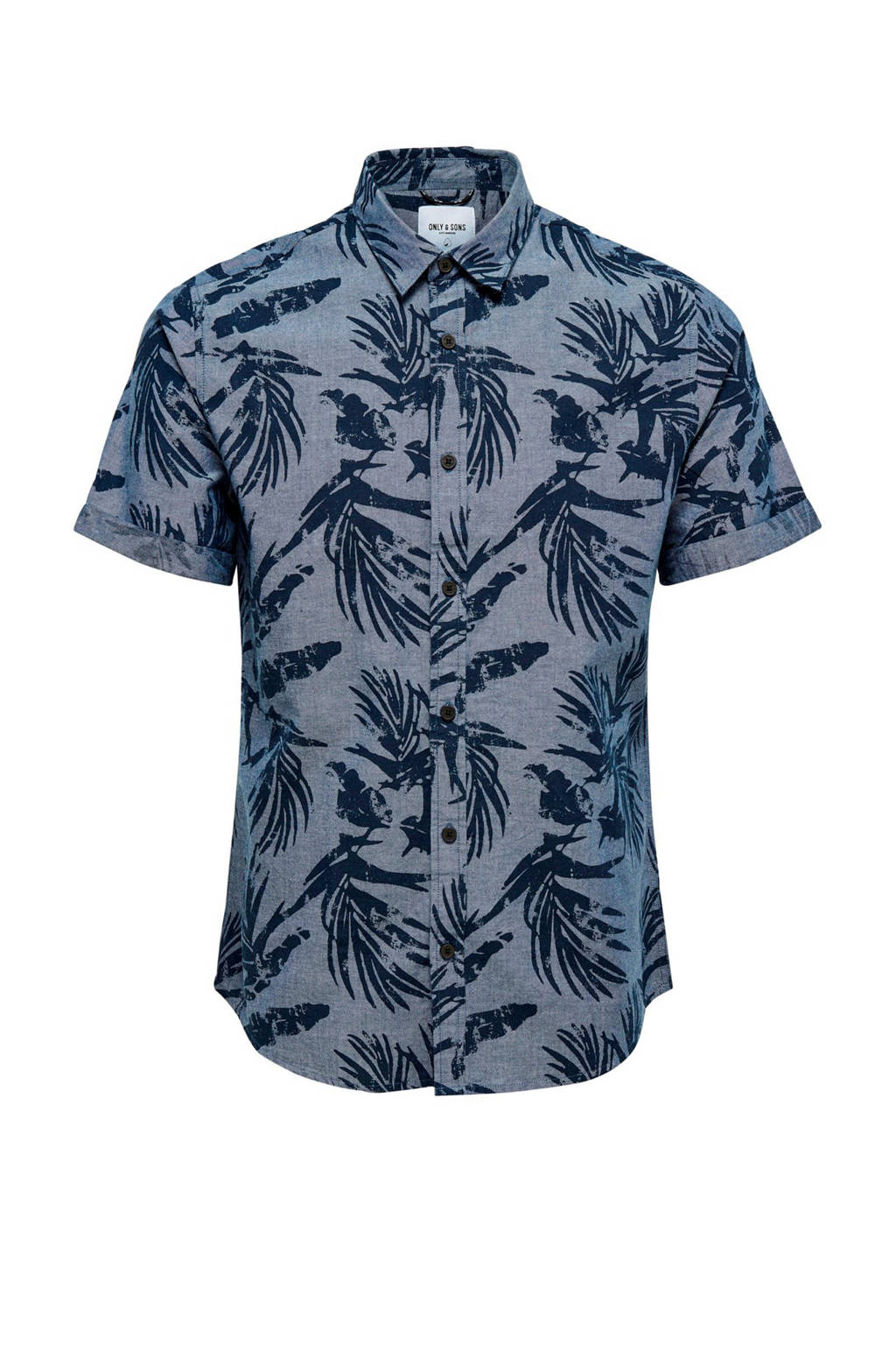Only & Sons slim fit overhemd met all over print, middenblauw