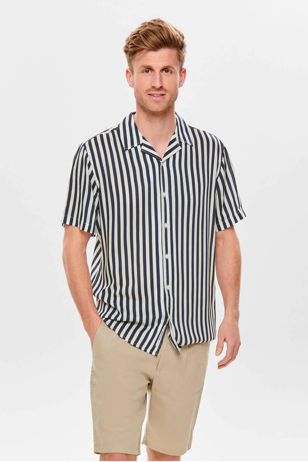 ONLY & SONS gestreept regular fit overhemd blauw, Blauw/wit