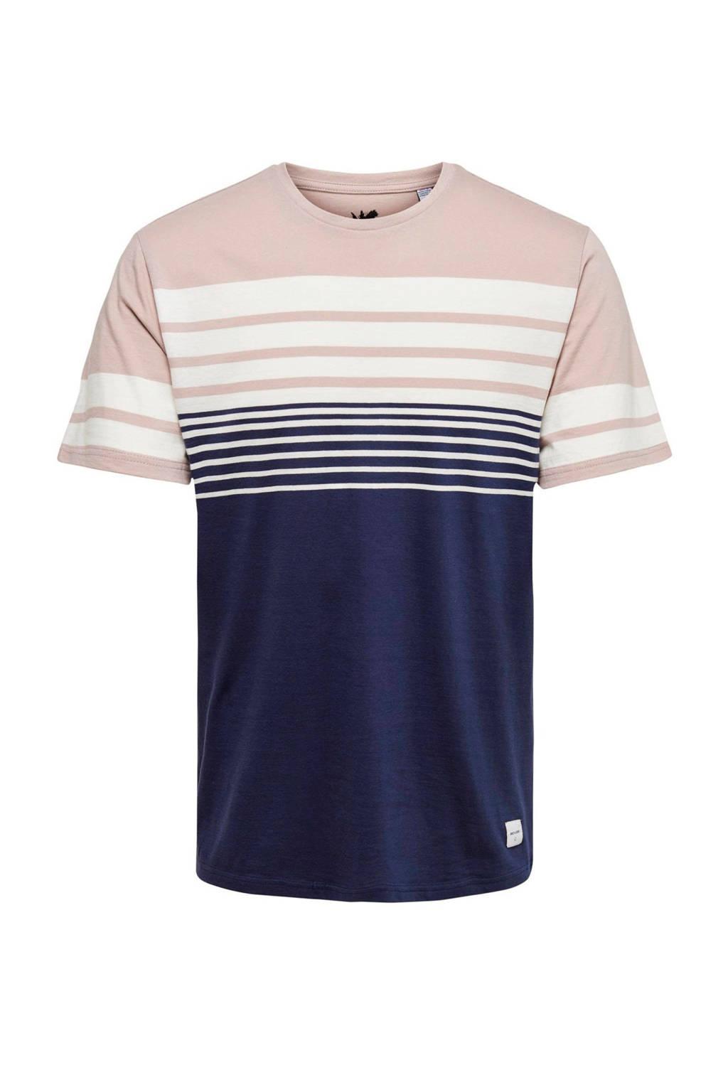 Only & Sons T-shirt met strepen violet, Violet
